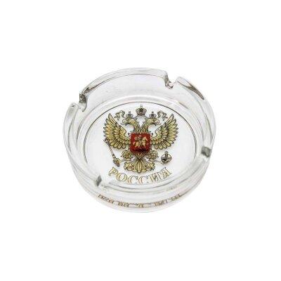 Пепельница круглая Герб России диаметр 10,6 см стекло Mallony