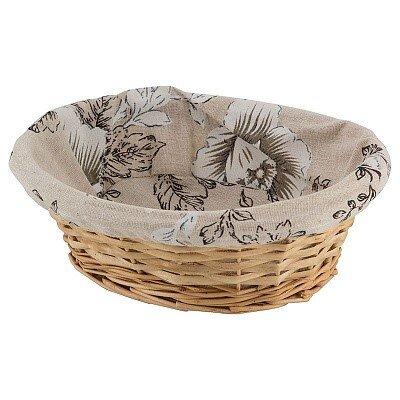 """Корзина для хранения """"Цветы"""", с текстильным вкладышем, овальная, 25x20x8 см"""