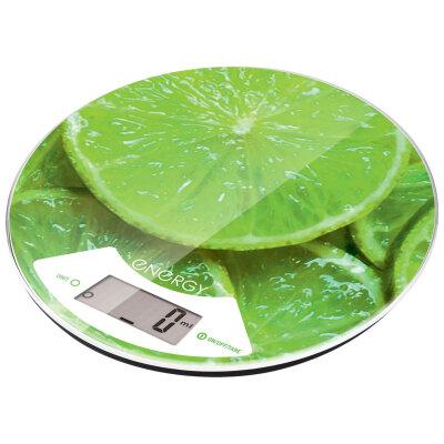 Весы круглые кухонные электронные до 5 кг Energy EN-403 lyme с функцией тары, стекло