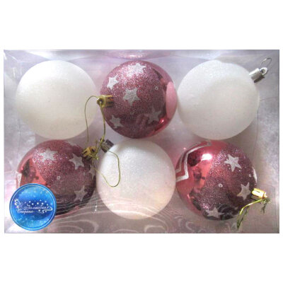 Набор новогодних шаров на елку 8 см SYCB17-257, 6 шт