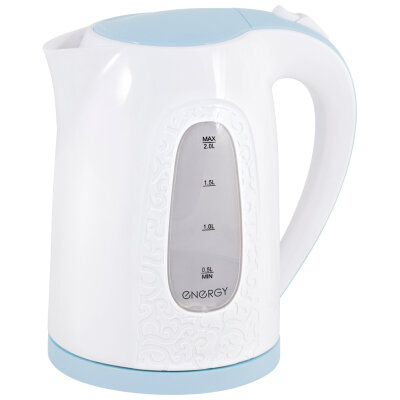 Чайник электрический корпус пластик 2 литра ENERGY E-236 2000 Вт, открытый тэн, белый с голубым