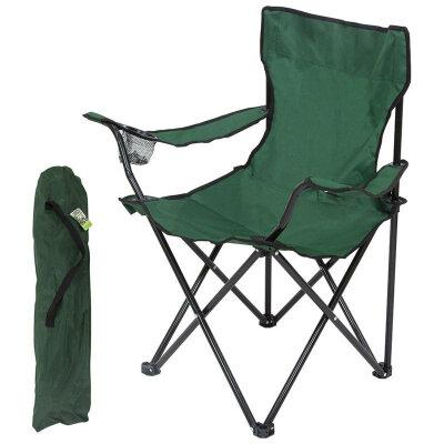 Складное кресло походное с чехлом до 120 кг DW-2009H подлокотники и подстаканники, зеленое