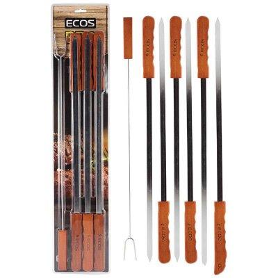 Шампура с деревянной ручкой 6 шт ECOS 23003D 60 см из нержавейки, в комплекте вилка для мяса