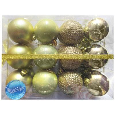 Набор матовых и глянцевых елочных шаров 6 см SYCB17-279  24 шт, Золотые
