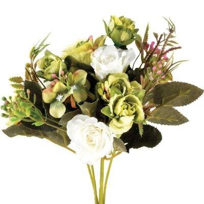 Букет из искусственных цветов для декора Розы 25 см цвет белый