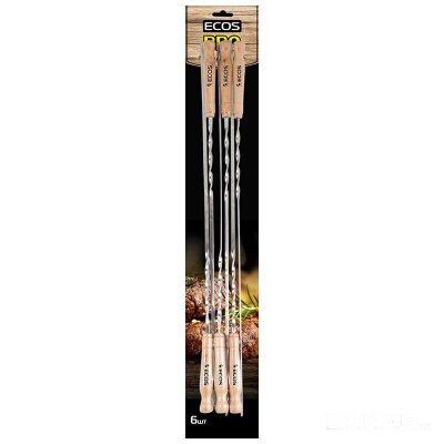 Шампуры ECOS 23021D с деревянной ручкой плоские 60 см 6 шт из нержавейки