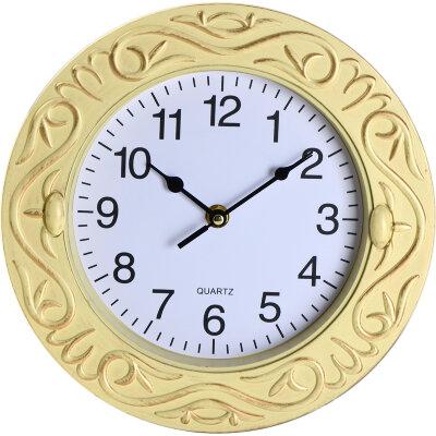 """Часы круглые настенные 25 см MAXTRONIC MAX-8726B """"Классика""""  обод цвета слоновой кости"""