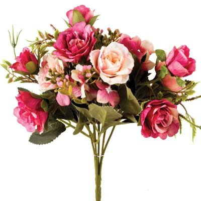 Букет из искусственных цветов Розы 30.5 см для декора цвет розовый