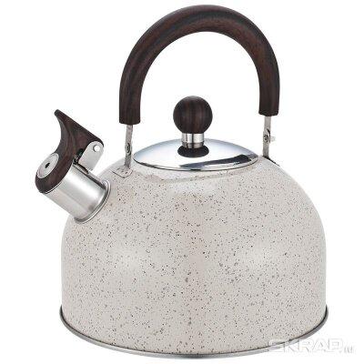 Чайник 2.5 л STORIA Mallony со свистком окрашенный, ручка под дерево