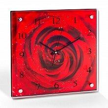 Часы квадратные настенные 35x35 см MAXTRONIC MAX-96022 Роза стеклянные кварцевые