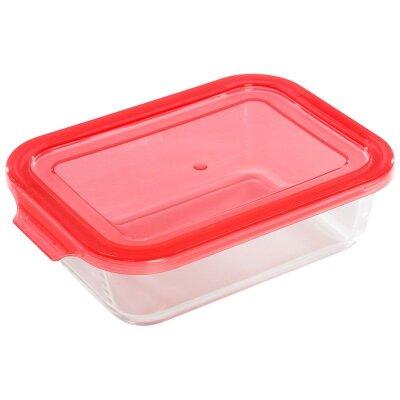 Контейнер для пищевых продуктов стеклянный 1000 мл Limpido Mallony прямоугольный с пластиковой крышкой