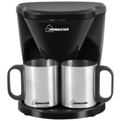 Капельная кофеварка на 2 чашки 450 Вт HOMESTAR HS-2010 черная, с постоянным фильтром