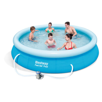 Bestway 57274 Бассейн с надувным бортом круглый 366х76 см, 5377 л, фильтр-насос, серия Fast SetTM