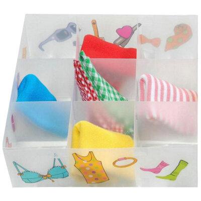 Коробка для белья и мелких вещей PSB-03/9-P, 9 ячеек, пластик, с принтом, 30*30*10см