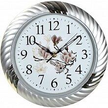 Часы круглые настенные с цветочным рисунком 27 см MAX-8301 Романс кварцевые интерьерные