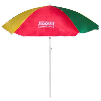 Зонт на пляж от солнца ECOS BU-06 диаметр купола 1.6 м, число спиц 6 м, складная штанга высотой 165 см