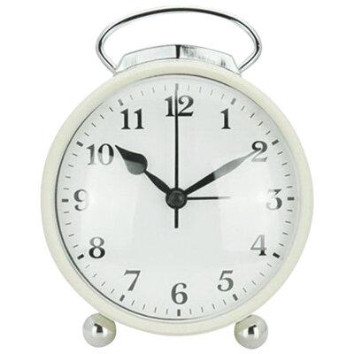 Часы будильник настольные на батарейке HOMESTAR HC-03-W круглый, 10 см, Белый