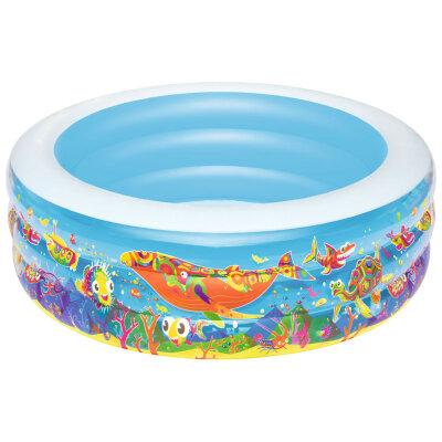 Bestway 51121B Бассейн надувной для детей от 3 лет круглый , бортик - 3 кольца, 152х51 см, 400 л
