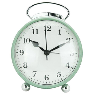 Часы будильник настольные на батарейке HOMESTAR HC-03 круглый, 10.3x5x11.4 см, Салатовый