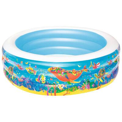 """Bestway 51122B Бассейн надувной детский для 6 лет круглый """"Подводный мир"""", бортик - 3 кольца, 196х53 см, 700 л"""