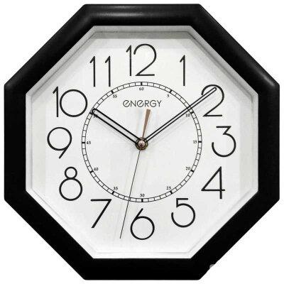 Настенные часы восьмигранник с большими цифрами 28 см ENERGY ЕС-125 Черные с белым