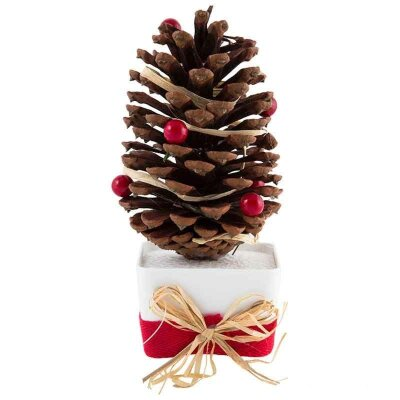 Украшение декоративное новогоднее Шишка с бусинами SYCB17-221 19 см