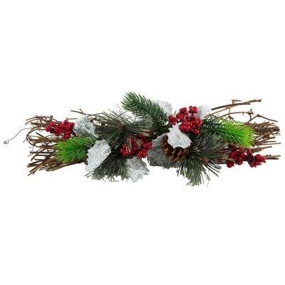 Новогоднее декоративное украшение Ветка еловая с гроздьями рябины SYCB17-073 39 см