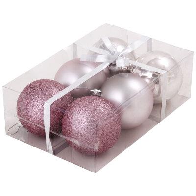 Набор новогодних шаров на елку 8 см PB8-6SMB-P, 6 шт