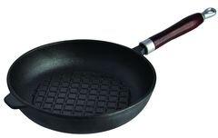 Сковорода-гриль Regent 93-FE-6-25 чугунная с деревянной ручкой, 25x5.2 см