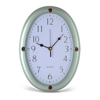 """Часы настенные овальные 29х21 см MAXTRONIC MAX-8321 """"Лазурит"""" с секундной стрелкой, серые"""