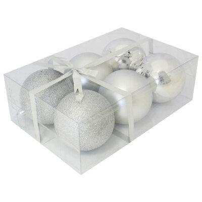 Набор новогодних елочных шаров на елку 8 см PB8-6SMB-S 6 шт