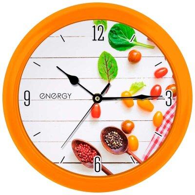 Часы круглые настенные 25 см ENERGY ЕС-111 кварцевые пластиковые