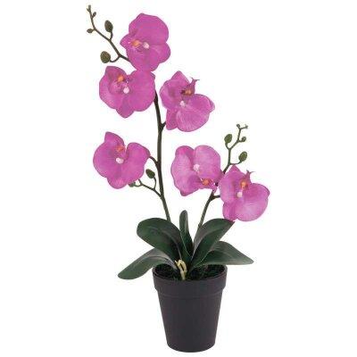 Искусственная Орхидея в горшке AF-02 для декора фиолетовая 45x23x10 см