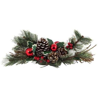 Новогоднее декоративное украшение Сосновая ветка с шишками и шариками SYCB17-076 39 см
