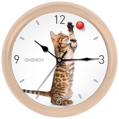 Часы круглые настенные с плавным ходом 25 см ENERGY ЕС-113 КОТ с мячиком кварцевые