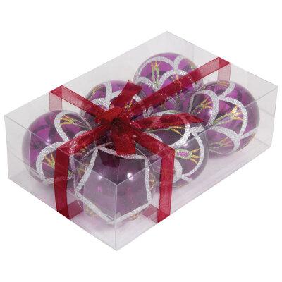 Набор прозрачных елочных шаров 6 см PBD6-6-995-P  6 шт , пластик, Фиолетовые