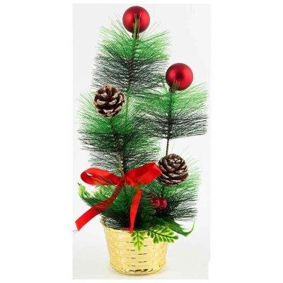 Декоративное украшение Новогодний елочный ершик в горшке с шариками и шишками 27.5см