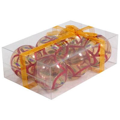 Прозрачные елочные шары из пластика 6 см PBD6-6-995-Y  6 шт, Золотые