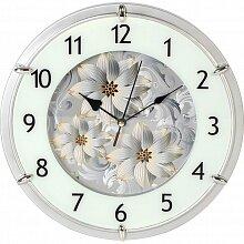 Часы круглые настенные с цветами 27.3 см MAX-8869-2 Флауэр стеклянные кварцевые с плавным ходом