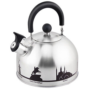 """Чайник с рисунком меняющим цвета для плиты 2.5 л """"Города России"""" Mallony"""