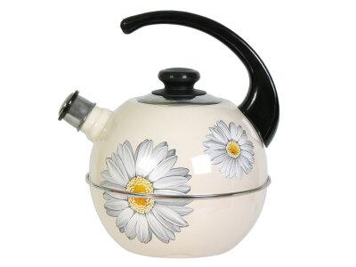 """Чайник со свистком 3.5 л """"Рубин"""" Т01/35/04/14 эмалированный рисунок """"Ромашки"""""""