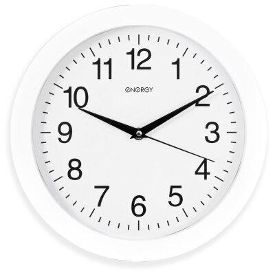Часы круглые настенные 28 см ENERGY ЕС-01 плавный ход Белые
