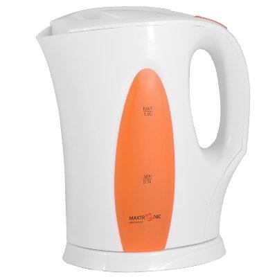 Чайник электрический 1 литр MAXTRONIC MAX-913 пластмассовый корпус, 2200 Вт, оранжевая вставка