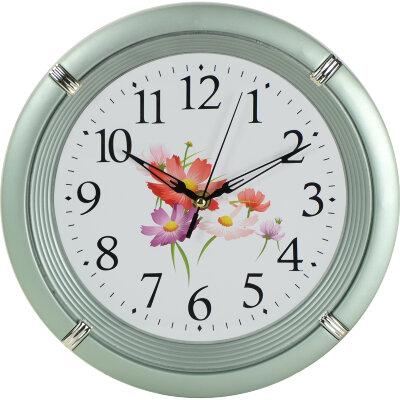 Часы круглые настенные Цветы 27 см MAXTRONIC MAX-8303B на батарейке