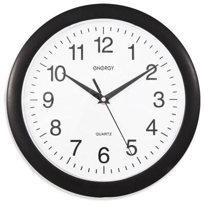 Часы круглые настенные 27.5 см ENERGY ЕС-02 плавный ход Черные с белым