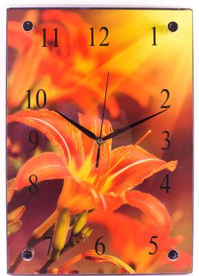 """Настенные часы прямоугольные 25х37 см MAXTRONIC MAX-96026 """"Лилия""""  плавный ход секундной стрелки"""