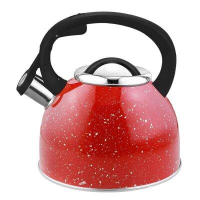 Чайник на плиту 2.5 л Arte Mallony со свистком красный с белыми точками