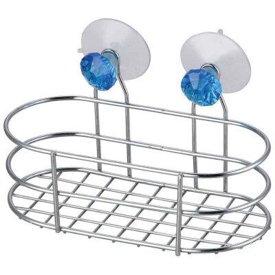 Корзинка для ванной подвесная овальная W2617 Бриллиант синий Рыжий КОТ на присосках